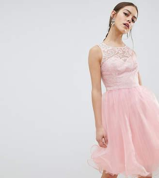 Chi Chi London Petite Midi Tulle Prom Dress with Premium Lace Bodice