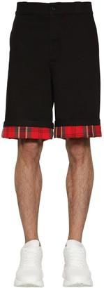Alexander McQueen Cotton Shorts W/ Tartan Details