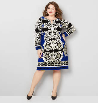 Avenue Colorblock Puff Print Sheath Dress