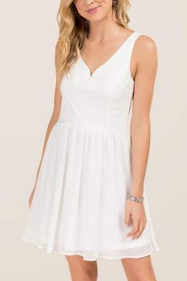francesca's Chiara Lace Combo A-line Dress - White