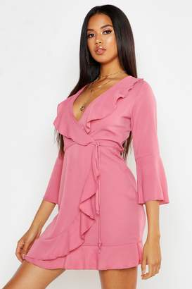 5eade45c852d boohoo Ruffle Detail Wrap Dress