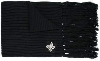 Twin-Set brooch ribbed scarf