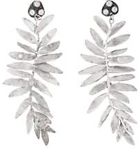 Julie Wolfe Women's Fern-Shaped Drop Earrings-Silver