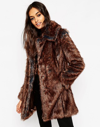 Asos Jacket In Tipped Faux Fur