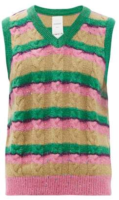 Ashish Striped Sequinned Cable Knit Tank Top - Womens - Pink Multi