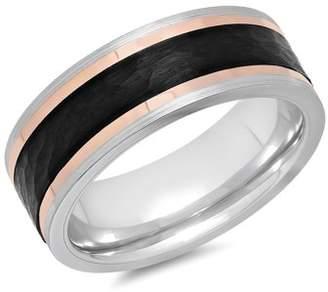 Rosegold ONLINE Mens Cobalt Black, Gray, and Rose-Gold IP Wedding Band - Mens Ring