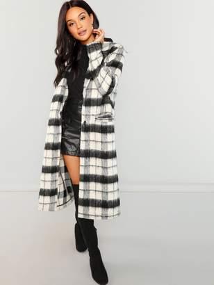 Shein Button Up Fuzzy Plaid Coat