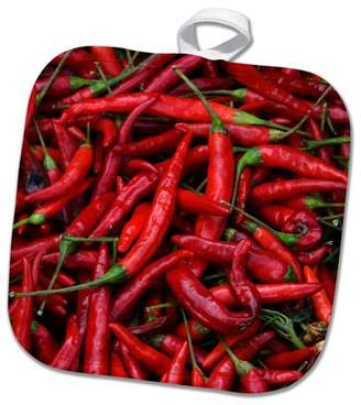 3dRose Spicy Hot Red Cayenne Chili Peppers - Pot Holder, 8 by 8-inch
