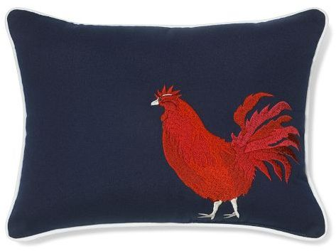 Rooster Embroidered Outdoor Pillow