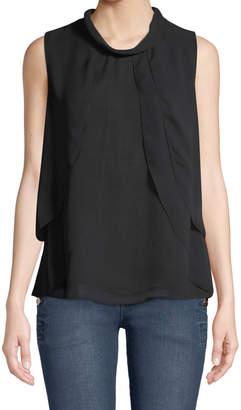 Iconic American Designer Sleeveless Tulip-Front Blouse