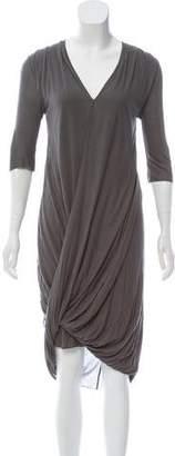 Helmut Lang Three-Quarter Sleeve Midi Dress