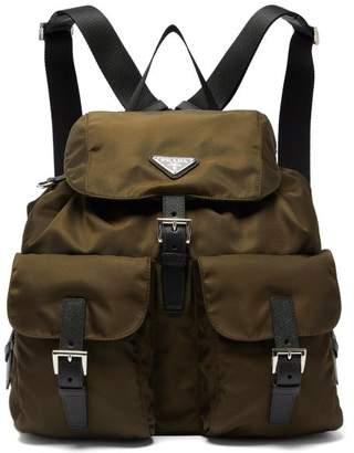 Prada Logo Plaque Nylon Backpack - Womens - Khaki