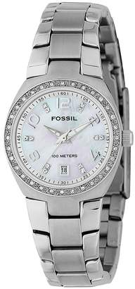 Fossil Ladies Mother of Pearl Dial With Glitz and Silver Bracelet