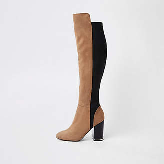 River Island Light brown knee high contrast boots