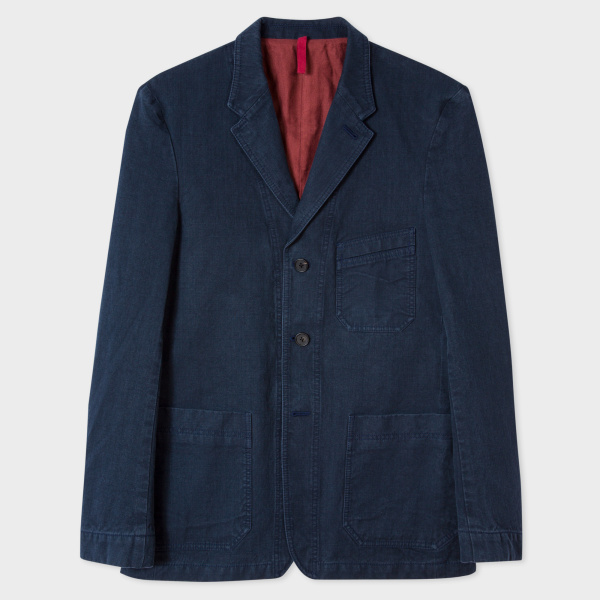 Paul Smith Men's Washed Navy Cotton Red Ear Blazer