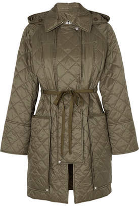 Burberry Hooded Belted Quilted Shell Coat - Army green