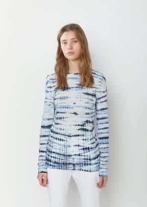 Proenza Schouler Long Sleeve Tie Dye Tissue T-Shirt Navy/Lilac Tie Dye