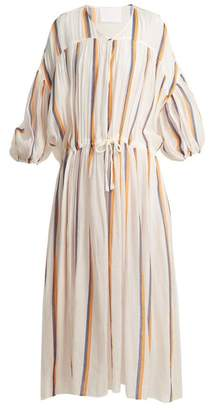 Binetti Love Dropped Shoulder Striped Cotton Dress - Womens - Orange Navy