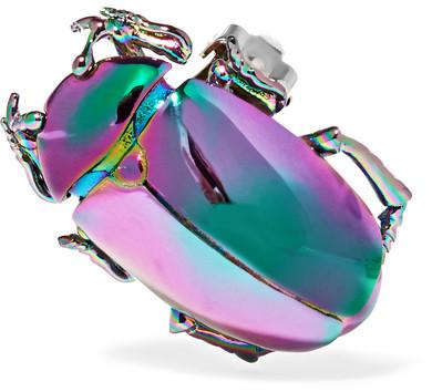Balenciaga Balenciaga - Beetle Iridescent Brass Clip Earring - Gunmetal