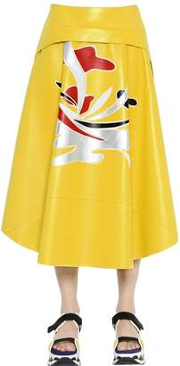 Marni Nappa Leather Skirt W/ Patchwork Detail