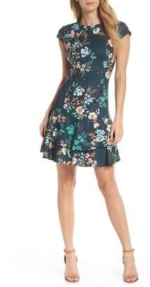 Eliza J Floral Print Cap Sleeve Fit & Flare Dress