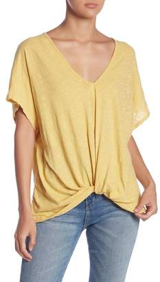 Lush Gathered Front Burnout Short Sleeve Tee