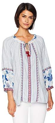 3J Workshop by Johnny Was Women's Mixed Material Boho Peasant Blouse