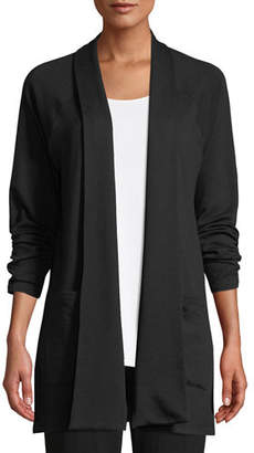 Eileen Fisher Shaw-Collar Open-Front Cotton-Fleece Kimono Cardigan