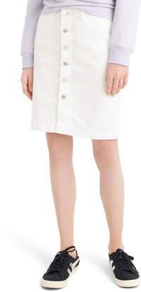 J.Crew Button Front Stretch Denim Pencil Skirt