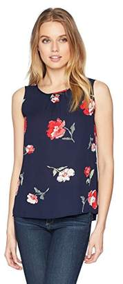 Nine West Women's Printed Amber CAMI with Key Hole Back Detail