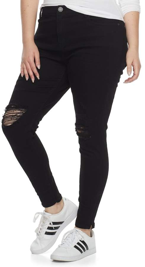 Plus Size Juniors' Mudd Ripped Zip-Ankle Skinny Jeans