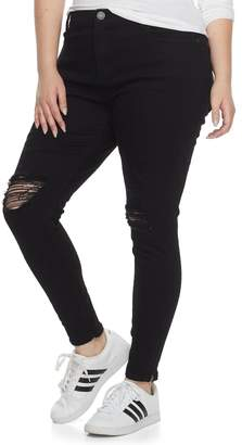 Mudd Plus Size Juniors' Ripped Zip-Ankle Skinny Jeans