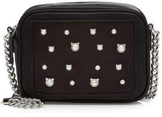 Karl Lagerfeld Cat Pearls Embellished Leather Shoulder Bag