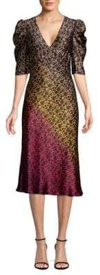 Saloni Colette Silk Ombre Midi Dress
