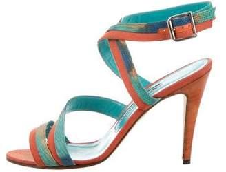 Manolo Blahnik Embossed Printed Sandals