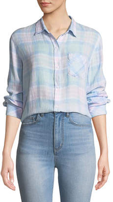 Rails Charli Check Linen Button-Front Top