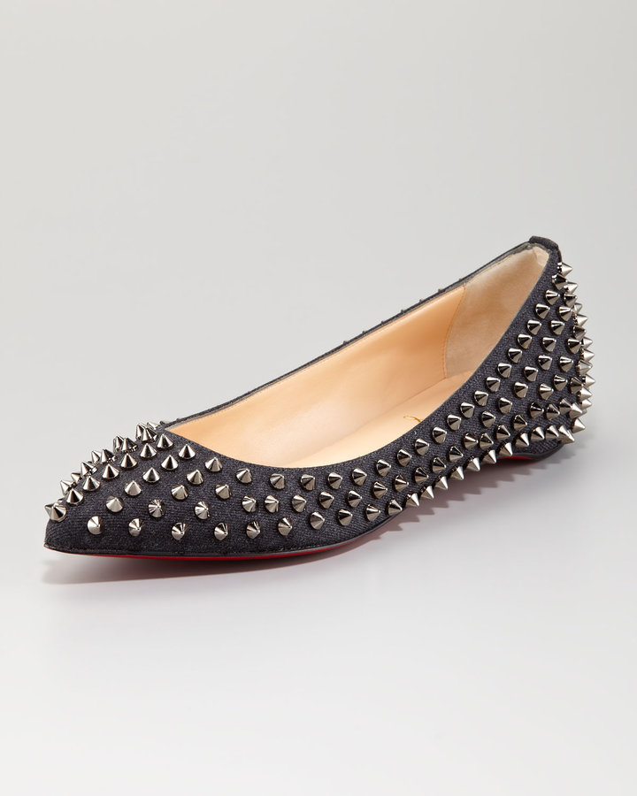 Christian Louboutin Pigalle Spikes Red Sole Flat