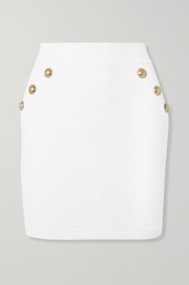Balmain Button-embellished Jacquard-knit Skirt - Off-white