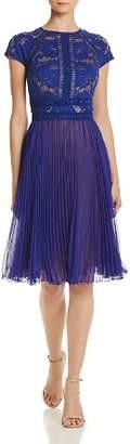 Tadashi Shoji Lace & Pleated Chiffon Dress