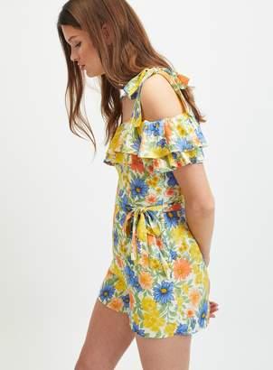 fe6bdcfce58 Miss Selfridge Multi Colour Floral Print Tie Shoulder Playsuit