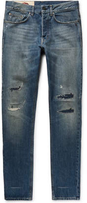 Kent & Curwen Harrow Slim-Fit Distressed Denim Jeans