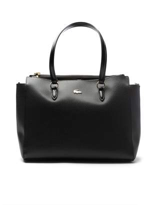 Lacoste Women's Chantaco Gusseted Fine Pique Leather Double Zip Tote Bag