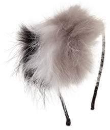 Bari Lynn Crystal& Fox Fur Pom-Pom Headband