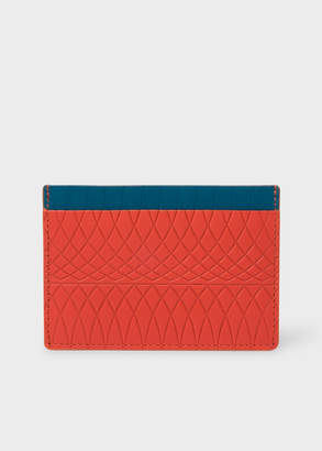 Paul Smith No.9 - Men's Scarlet Red Leather Card Holder With Multi-Coloured Card Slots