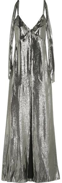 Saint LaurentSaint Laurent - Silk-blend Lamé Gown - Silver