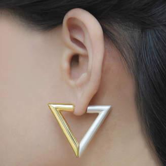 At Notonthehighstreet Jasper Opal Gold Geometric Triangle Magnetic Earrings