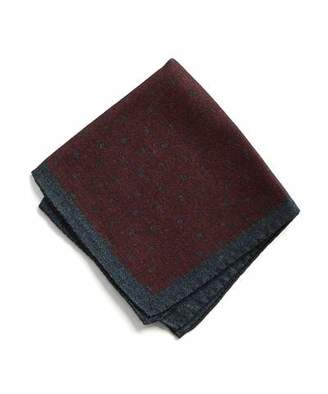 Todd Snyder Italian Wool Burgundy Square Dot Pocket Square