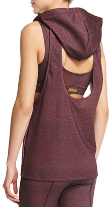 Varley Ashland Sleeveless Open-Back Sport Hoodie, Claret Crocodile $120 thestylecure.com