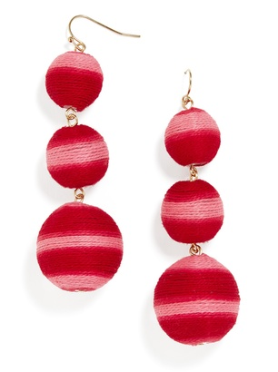 Striped Crispin Ball Drop Earrings $48 thestylecure.com