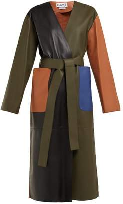 Loewe Belted Leather Coat - Womens - Green Multi